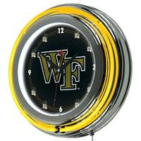 NCAA Wake Forest University Chrome Double Rung Neon Clock