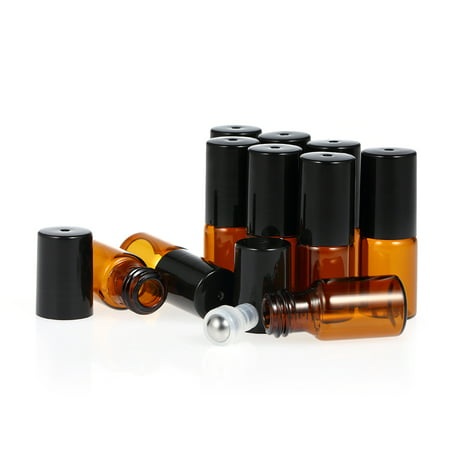 10 Pcs 3ml Amber Glass Essential Oils Roller Bottle Roll-on Bottles Stainless Steel Roller Ball Essential Oil Jar with 3ml Dropper ()