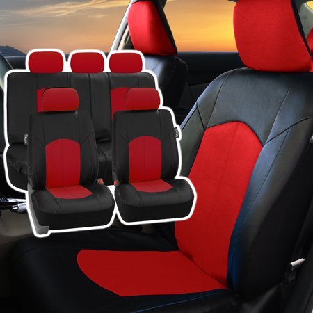 FH Group, Perforated Leather Seat Covers for Auto Car Sedan SUV Van, Full Set with 5 Headrest covers, 8