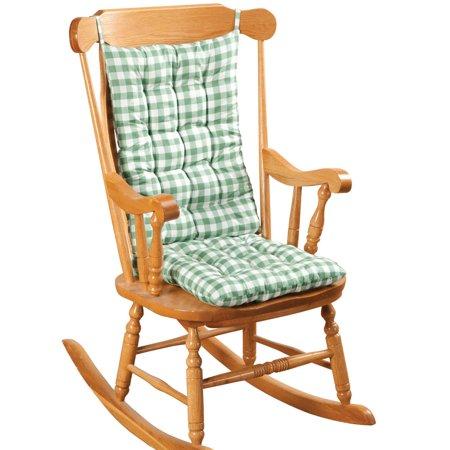 Marvelous Gingham Rocking Chair Cushion Set By Oakridgetm Interior Design Ideas Pimpapslepicentreinfo