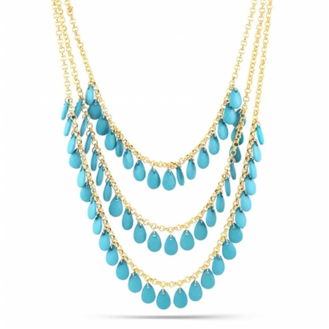 Eshopo 0805470030119 Gold-Tone Metal Turquoise 3 Layered Necklace