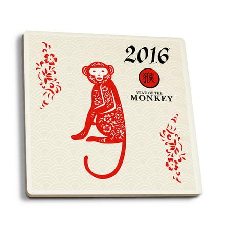 - Year of the Monkey - 2016 - Vertical Pattern - Lantern Press Artwork (Set of 4 Ceramic Coasters - Cork-backed, Absorbent)
