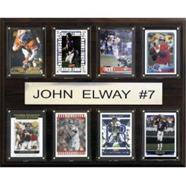 C & I Collectables 1215ELWAY8C NFL John Elway Denver Broncos 8 Card Plaque