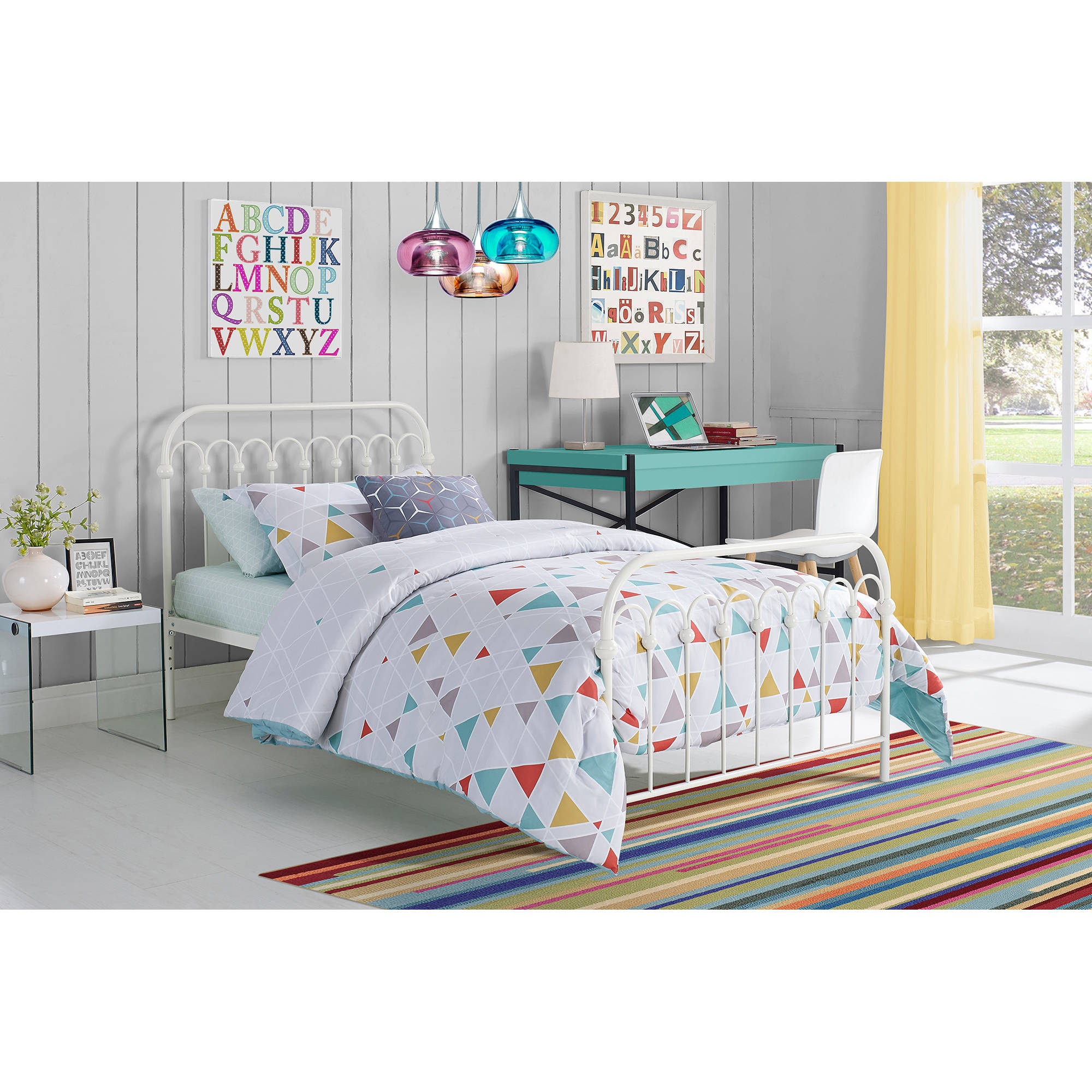 9 by Novogratz Bright Pop Twin Metal Bed, Multiple Colors