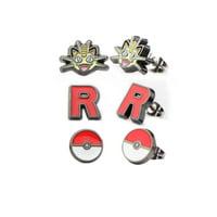 Pokemon Meowth, Team Rocket Logo, & Pokeball Stud Stainless Steel Earrings Set