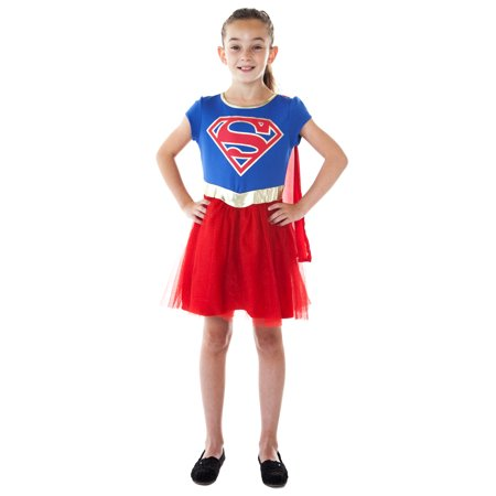 Girls Supergirl Costume Dress Cape Blue Red Cosplay