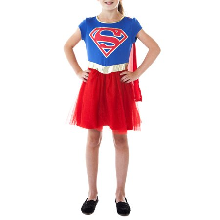 Cool Tween Girl Halloween Costume Ideas (DC Comics Supergirl Halloween Costume Dress Cape Blue Red Cosplay (Big)
