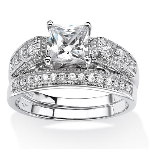 1.50 TCW Princess-Cut Cubic Zirconia Two-Piece Vintage Bridal Set in 10k White Gold - Size 7