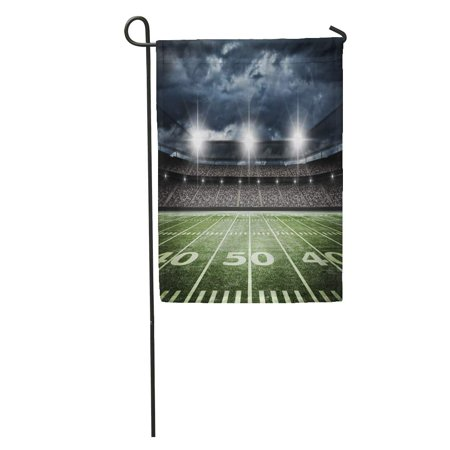SIDONKU Stadium American Football Satdium Field Light Night Soccer Turf Garden Flag Decorative Flag House Banner 12x18