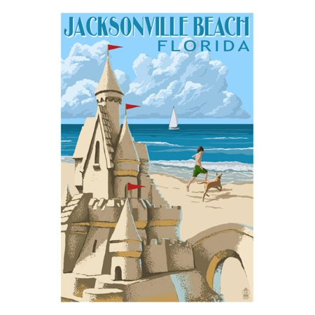 Jacksonville Beach, Florida - Sandcastle Scene Print Wall Art By Lantern Press (Halloween Jacksonville Florida)