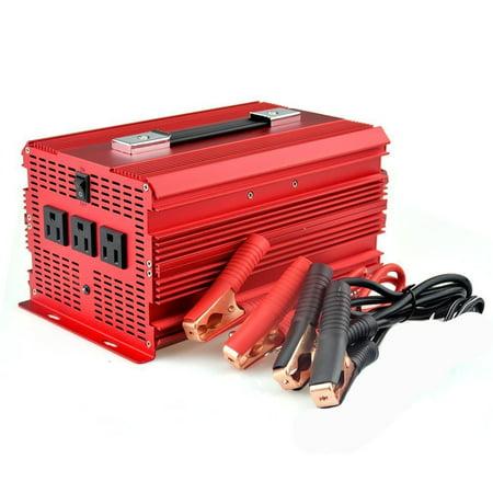 BESTEK Upgraded 2000W Car Power Inverter 3 AC Outlets 12V DC to 110V AC Car Inverter with Car Battery Clip & Car Cigarette Lighter Adaptor ()