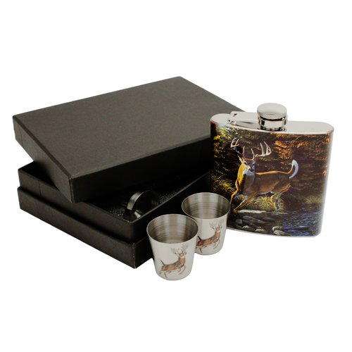 Rivers Edge Products Stainless Steel Flask/Shot Glass Gift Set, Deer Art