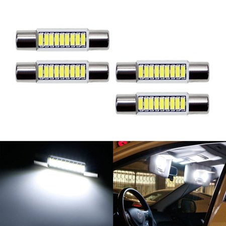 iJDMTOY 4pcs Extremely Bright 9-SMD 29mm 6614 6641F LED Replacement Bulbs For Car SUV Truck Sunvisor Flips Vanity Mirror Lights, Xenon White