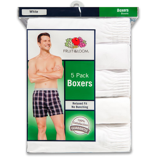 Fruit of the Loom Men's Classic White Boxers, 5-Pack