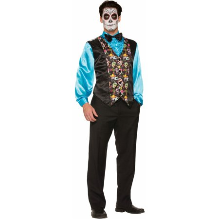 Halloween Day Of The Dead Vest Adult Costume - Days Til Halloween