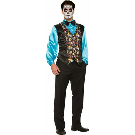 Halloween Day Of The Dead Vest Adult Costume - Day Of The Dead Faces For Halloween