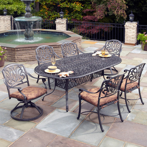 Home Styles Floral Blossom 7-Piece Patio Dining Set, Charcoal
