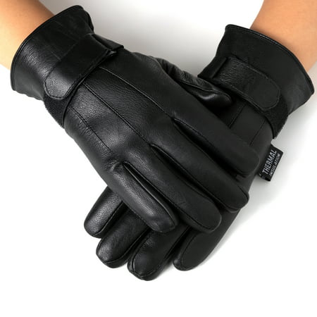 Alpine Swiss Mens Gloves Dressy Genuine Leather Warm Thermal Lined Wrist - Black Nylon Adult Mens Gloves