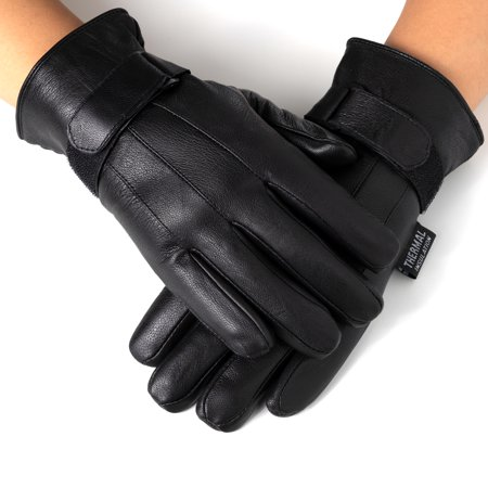 Alpine Swiss Mens Gloves Dressy Genuine Leather Warm Thermal Lined Wrist Strap ()