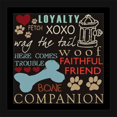 Dog Words Paw Print Bone Fire Hydrant Inspirational Pet Collage Typography Blue & Brown, Framed Canvas Art by Pied Piper Creative Dog Blue Paw Prints