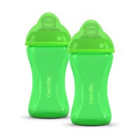 Bebek 8 oz Plus Graduated in Ounces and ML Patented Anti Colic Clear BPA-Free Spout, w/ Easy to Clean Sense-Flo Hospital Grade Silicone Soft Spout Bottle Lime Pack of Two