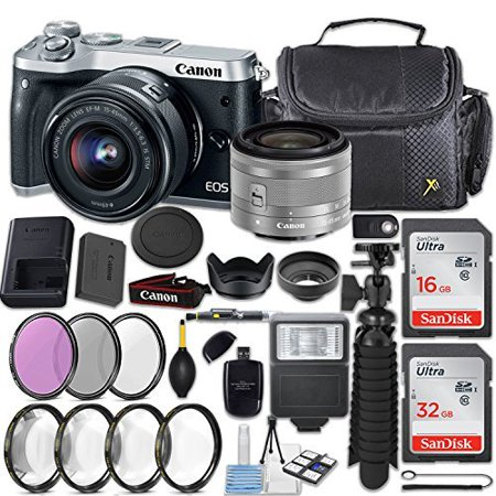 Canon EOS M6 24.2MP Mirrorless Digital Camera (Silver) + EF-M 15-45mm f/3.5-6.3 IS STM Lens (Silver) + 48GB Memory + Filters & Macros + Spider Tripod + Slave Flash + Professional Accessory Kit Brown Silver Flash Lens