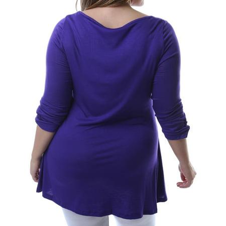 24/7 Comfort Apparel Women's Plus 3/4-length Tunic Top