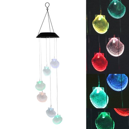 EEEKit Solar Wind Chime, LED Outdoor Creative Color Changing Lights Hanging Sea Shell Pendant Garden Yard Lamp ()