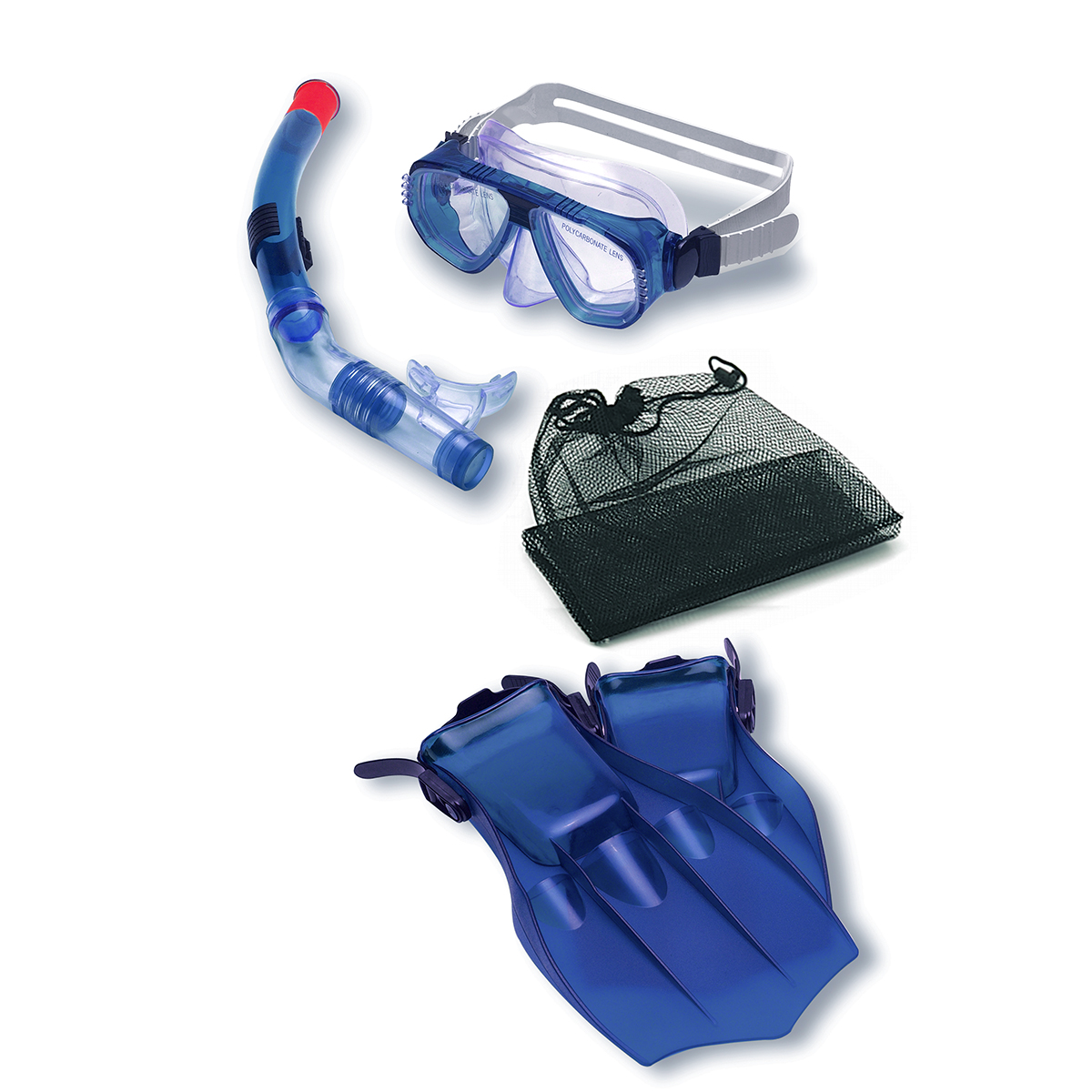 Water Sports Recreational Blue Mask, Snorkel and Fins Swimming Pool and Water Snorkeling Set by Swim Central