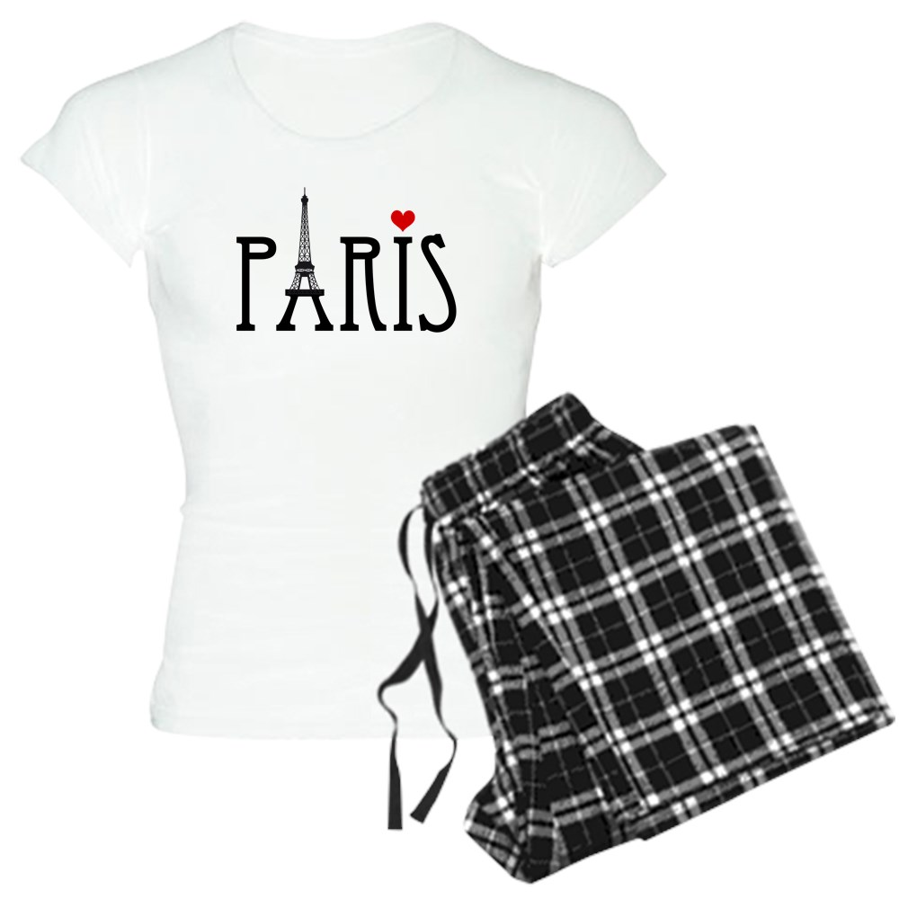 CafePress - Love Paris With Eiffel Tower And Red Heart Pa...