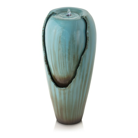Alpine Water Jar Fountain with LED Light, Turquoise, 32 Inch Tall Cast Stone Outdoor Water Fountain