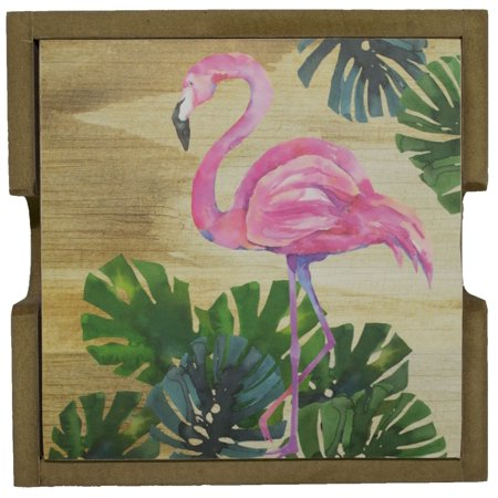 - Set of Four Flamingo Coasters and Holder