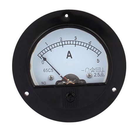 Pointer Needle DC 0-5A Current Tester Round Panel Analog Ammeter 88mm x 68mm