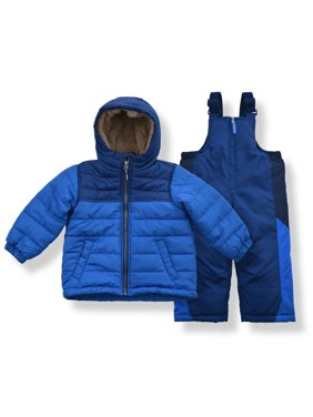 Arctic Quest Boy's Color Block Puffer Jacket and Ski Bib Snowsuit Set - Size 3T, Red
