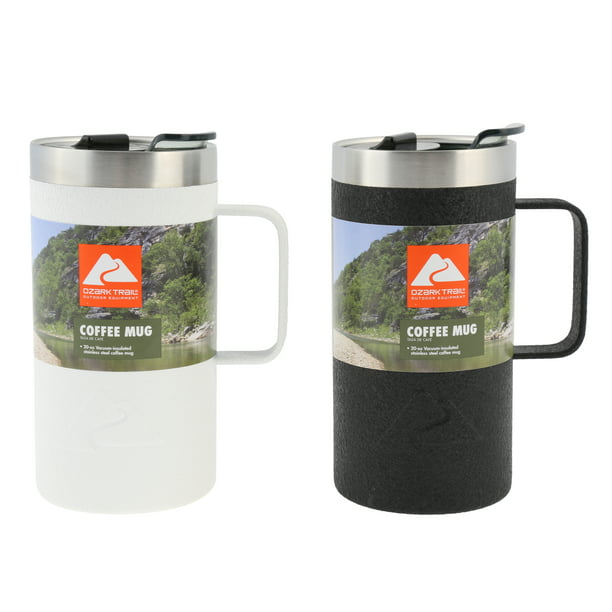Ozark Trail Double Wall Vacuum Sealed Stainless Steel Coffee Mug 20 Oz 2 Pack Walmart Com Walmart Com