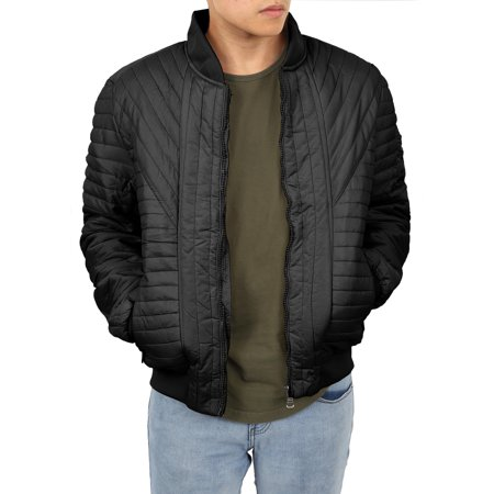 Mens Padded Jackets Quilted Puffer Faux PU Leather Biker -