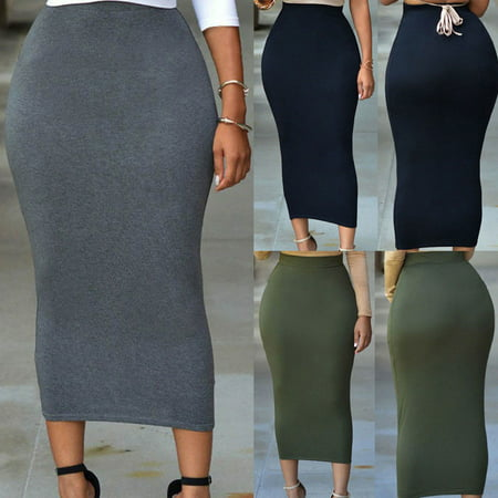 Muslim Thin Skirt Bodycon Slim High Waist Stretch Long Midi Women Pencil Skirt (Poodle Skirts For Women)