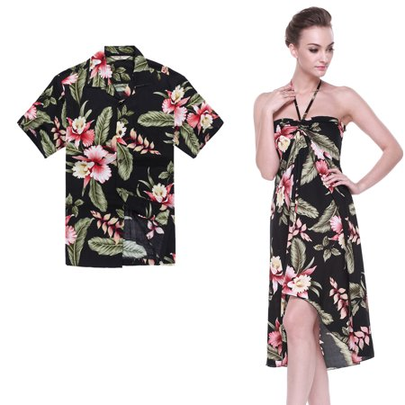 Couple Matching Hawaiian Luau Party Outfit Set Shirt Dress in Black Rafelsia Men 3XL Women XL - Homecoming Couples Outfits
