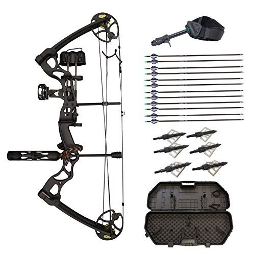 SAS Rage 70 Lbs 30'' Compound Bow Travel Package with Arrows Hard Case Loaded by