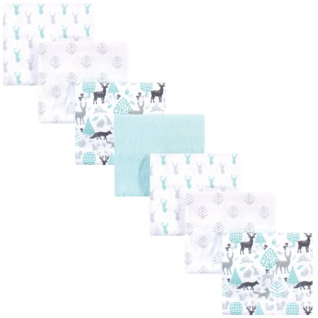 Hudson Baby Flannel Receiving Blanket, 7 Pack, Linocut/Woodland Neutral