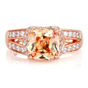 Emitations Rose Gold over Silver Peach Cubic Zirconia Cushion-cut Engagement Ring