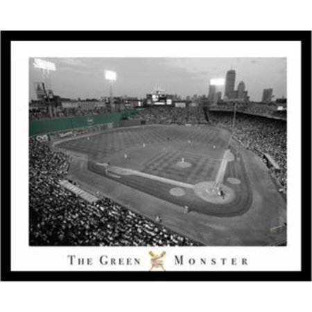 Professionally Framed Fenway Park - Green Monster 20x16 Poster, RED SOX, BOSTON, FAMOUS FIELD, WALL AT FENWAY, MASSACHUSETTS STADIUM, YAWKEY WAY