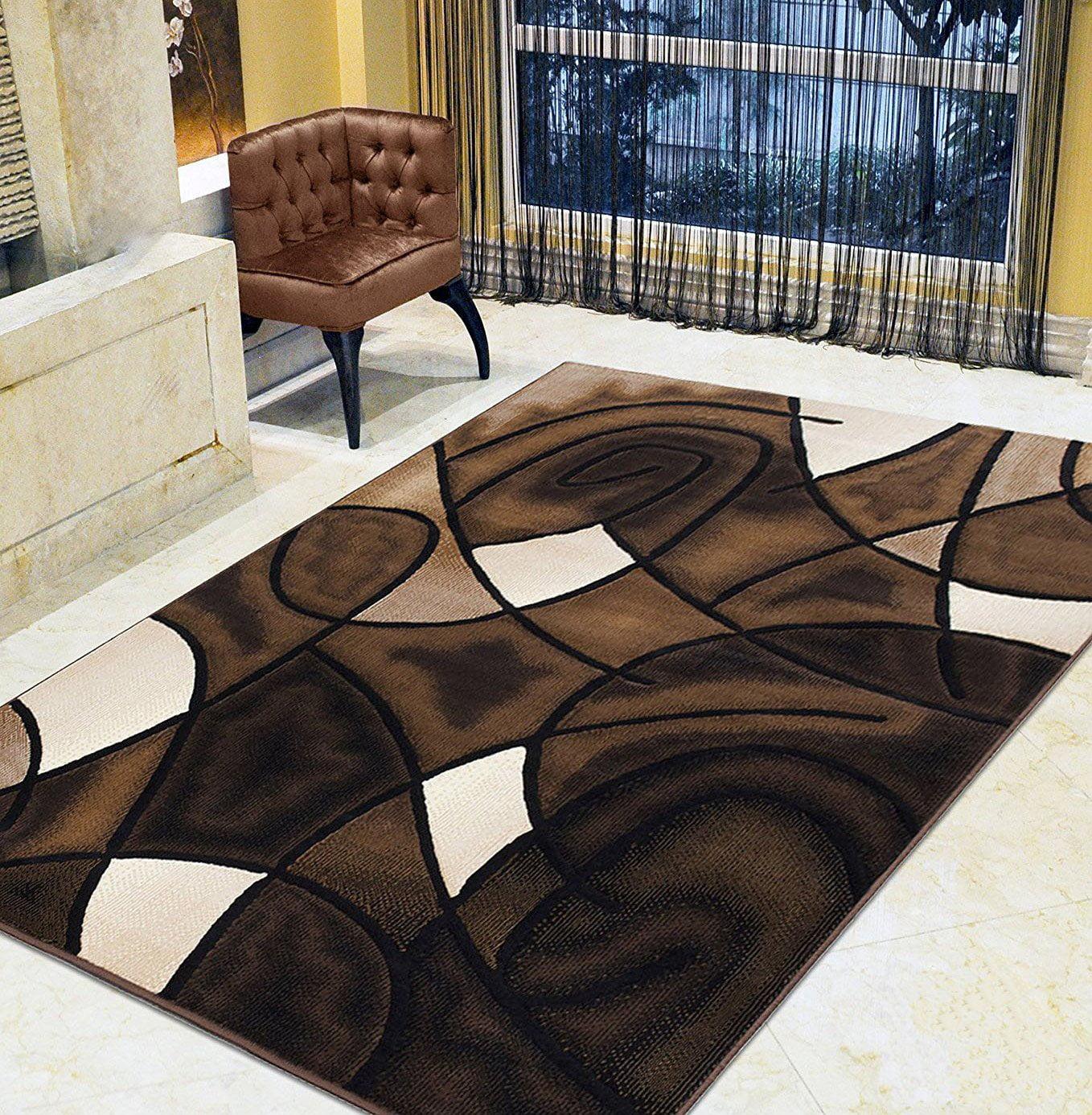 Chocolate Brown Beige Mocha Black Abstract Area Rug Modern Contemporary Circles And Wavey Swirlls Design Pattern Walmart Com Walmart Com
