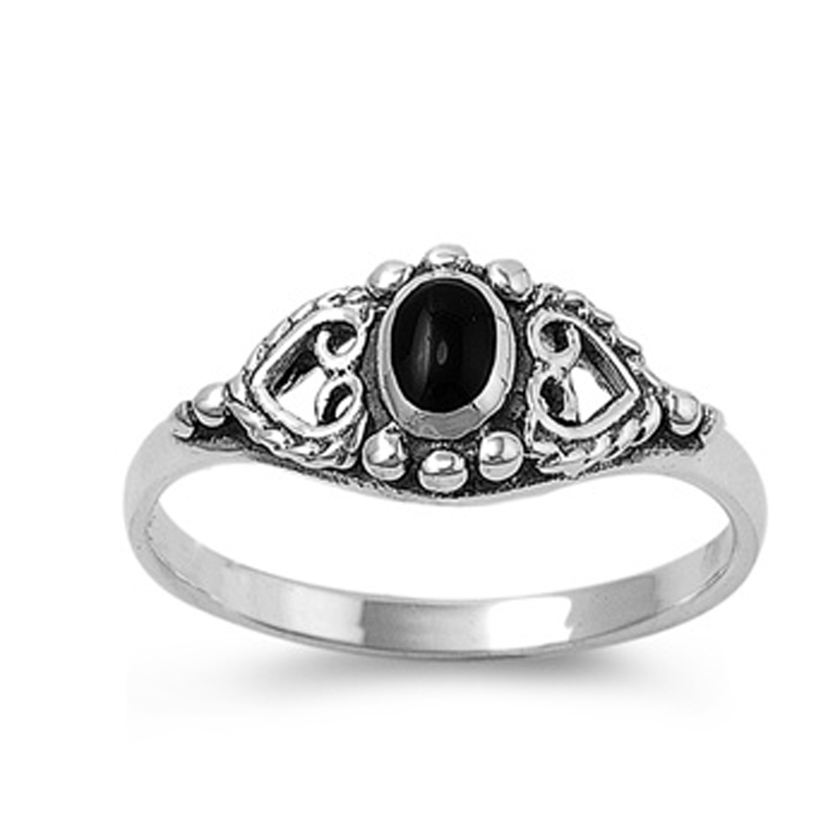 Sterling Silver Women's Simulated Black Onyx Oval Solitaire Heart Ring (Sizes 4-10) (Ring Size 5)