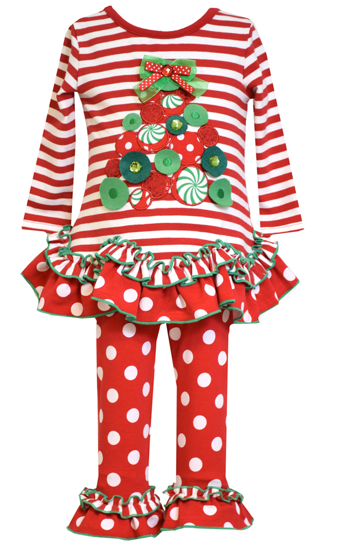 Bonnie Jean Little Girls Stripe Ruffle Legging Set