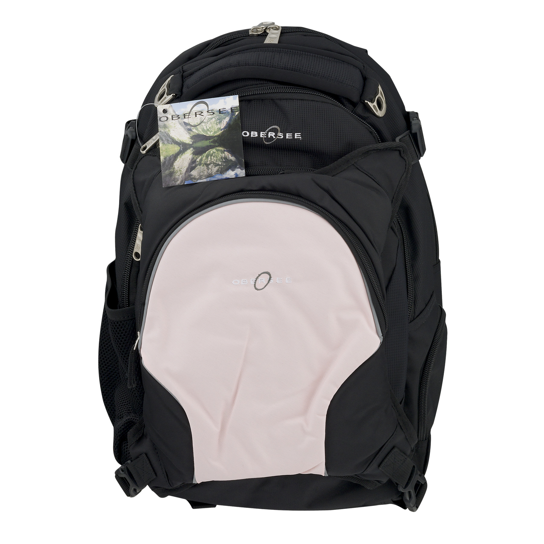 Obersee Oslo Diaper Bag Backpack With Cooler Black/Bubble Gum, 5.0 CT