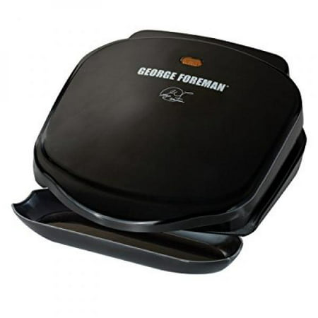 George Foreman GR10B 2-Serving Classic Plate Electric Grill, Black