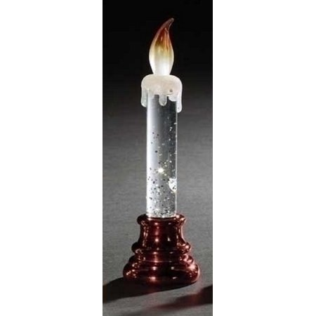 """6.75"""" Battery Operated Red Base LED Lighted Glitter Filled Flameless Christmas Candle"""