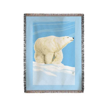Polar Bear Solo - Lantern Press Poster (60x80 Woven Chenille Yarn (Polar Bear Blanket)