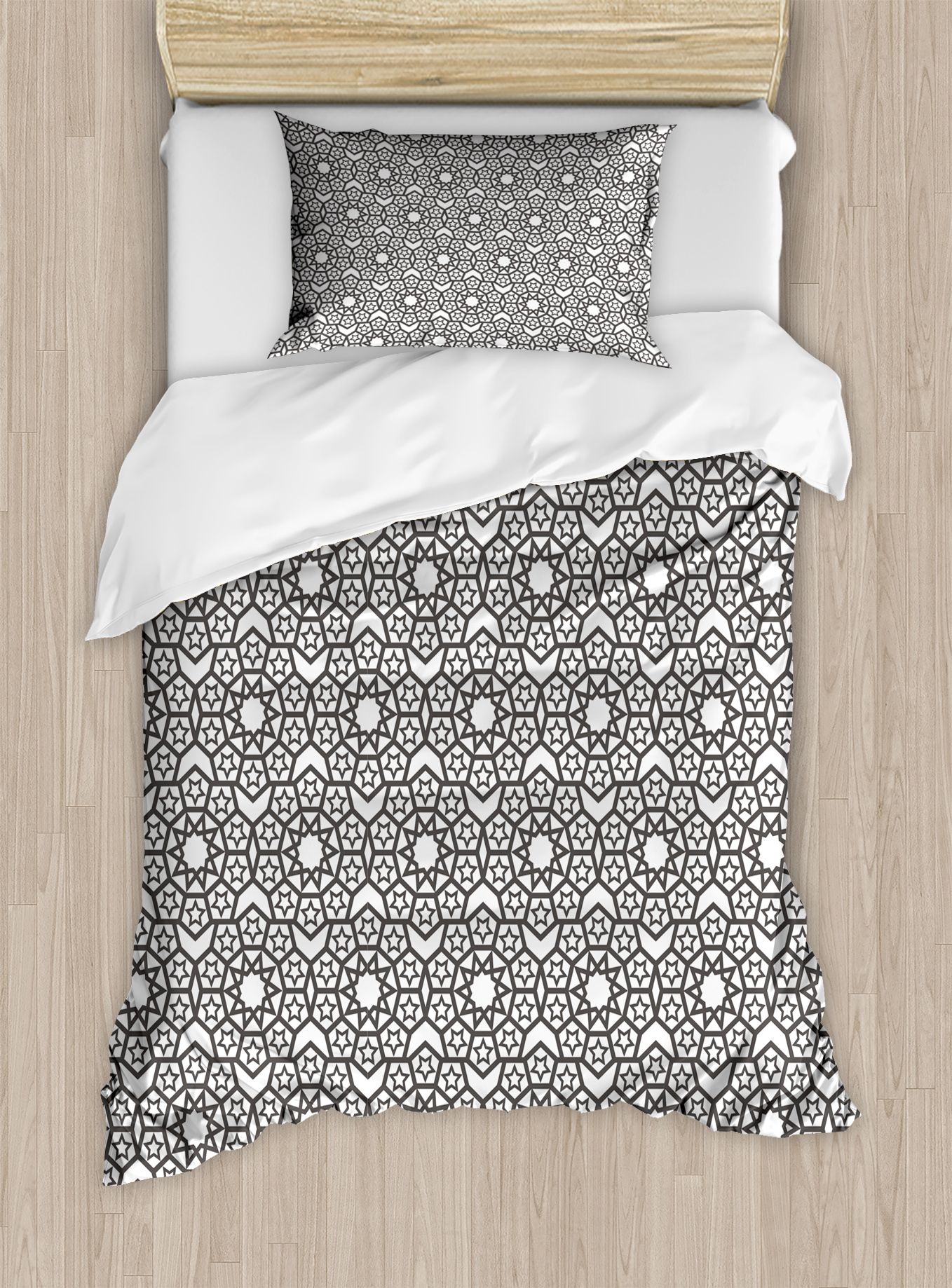 Grey And White Duvet Cover Set, Arabesque Oriental Folk Ethnic Historic  Motif With Stars Geometric, Decorative Bedding Set With Pillow Shams,  Charcoal ...